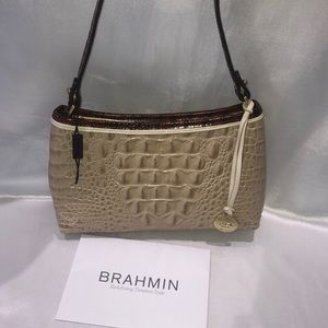 Brahmin Croc Embossed Shoulder Handbag NEW
